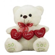Tickles White Romantic Loving Teddy with I love You Heart Stuffed Soft Plush Toy 21 cm