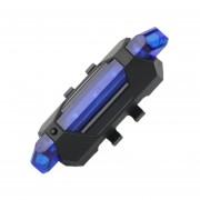 EH Portable USB Recargable De Cola Trasera Bicicleta Lampara De Luz De Advertencia De Seguridad- Azul