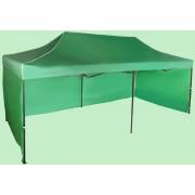Nůžkový stan 3x6m ocelový, Zelená, 3 boční plachty