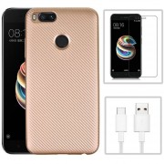 Funda Xiaomi Mi A1 + Cristal Templado + CABLE, Carcasa Uso Rudo - Rosa