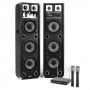 """Electronic-Star Sistema de karaoke """"STAR-238A"""" Set de altavoces PA activo Set de micrófonos inalámbricos VHF de 2 canales (PL-21711-2233)"""