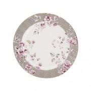 Porcelán desszerttányér 190mm, szürke szegéllyel, Ditsy Floral
