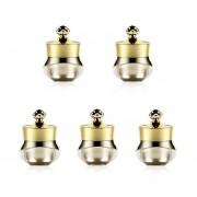 5 PCs De Acrilico Duro Viaje Contenedores Con Tapas De Sellado Adecuado Para Cara Mano Body Cream, 5ml (oro)