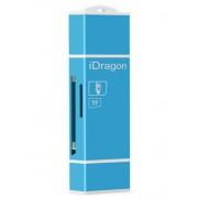 Card Reader iUni Lightning + MicroUSB OTG, Memorie Externa pentru dispozitive iOS si Android, Blue