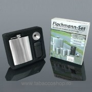 Set Flachmann plosca alcool 240ml, cu 4 paharele, palnie si husa