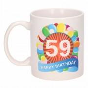 Shoppartners Cadeau 59 jaar mok / beker ballon thema Multi