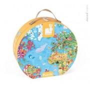 JANOD Puzzle Mapa Świata GIGANT 300 elementów - puzzle w walizce dla dzieci 6 lat+,