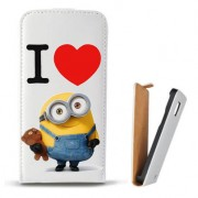 Toc Samsung Galaxy S Duos S7562 Trend Plus S7580 Trend S7560 Husa Piele Ecologica Flip Vertical Alba Model I Love Minions