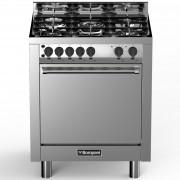 Aragaz Bompani Tech BO773GA/N, 70x60 cm, plita gaz, cuptor gaz, 5 arzatoare, aprindere electronica, grill, inox