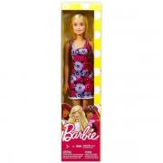 Barbie: Divatos szőke hajú Barbie lila-rózsaszín virágos ruhában