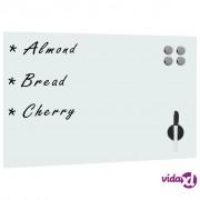 vidaXL Zidna bijela magnetna ploča od stakla 60 x 40 cm