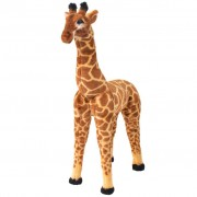 vidaXL Brinquedo de montar girafa peluche castanho e amarelo XXL