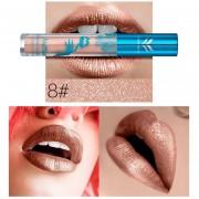 Onloon Metal Pearlescent Lip Gross Resistente Al Agua De Larga Duración Hot Sexy Colors Necesarios Para El Maquillaje De Belleza, 8 # Huamianli