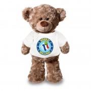 Shoppartners Knuffel teddybeer Hoera Geslaagd! met vlag wit shirt 24 cm