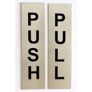 Door Sign I Stainless Steel I PUSH I PULL I OPEN THE DOOR I CLOSE THE DOOR I Chemically Etched logo