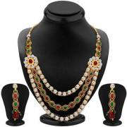 Sikka Jewels Splendid Gold Plated Australian Diamond Necklace Set