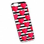 Husa Silicon Transparent Slim Red Heart 102 Apple iPhone 7 Plus 8 Plus