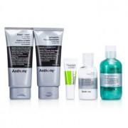 Logistics For Men The Essential Traveler Kit: Cleanser + Mositurizer + Lip Blam + Shave Cream + Hair & Body Wash 5pcs Logistics For Men Основният Комплект за Пътуване: Почистващо Средство + Овлажнител + Балсам за Устни + Крем за Бръснене + Душ Гел за Коса