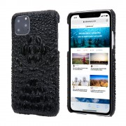 Alligator Head Texture Genuine Leather Coated PC Phone Shell Protective Case for iPhone 11 Pro Max 6.5 inch - Black