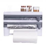 Dispenser triplu de bucatarie pentru rola de hartie, folie de aluminiu si folie alimentara