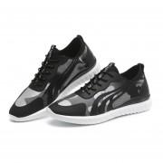 Zapatos Deportivos Con Malla Respirable Tenis Casual Para Hombre -Negro Y Gris