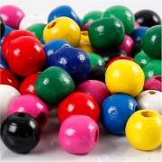 Creativ Company Träpärlor, dia. 12 mm, hålstl. 3 mm, 22 g, mixade färger
