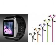 Mirza GT08 Smart Watch and Zipper Earphone for LG OPTIMUS L4 DUAL(GT08 Smart Watch with 4G sim card camera memory card |Zipper Earphone )