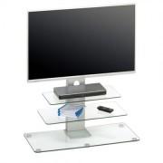 TV-Rack 1641 mit höhenverstellbarer TV Halterung Weißglas