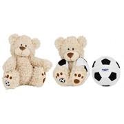 Buddy Balls Plush Teddy Bear Convertible Toy Soccer Ball-Tory, Cream/Black/White