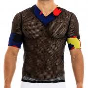 Modus Vivendi Camouflage V Neck Short Sleeved T Shirt Black 02041