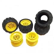 Lego Parts: Drome Racer Wheels Tire and Rim Bundle (4) Black 43.2mm x 28mm Balloon Tires (4) Yellow 43.2mm x 28mm Wheel Rims