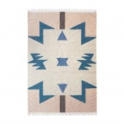 Ferm Living Vloerkleed Kelim Blue Triangles Large