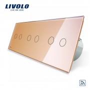 Intrerupator dublu+dublu+dublu cu touch Wireless Livolo din sticla, auriu