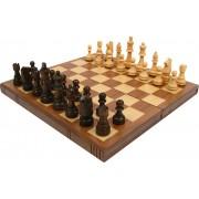 Trademark Games - Chess Board Walnut Book Style with Staunton Chessmen
