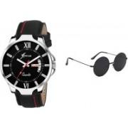 Rich Club Analog Watch, Round Sunglass Combo(Black)