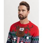 Speechless Reindeer Sweater Red Blå