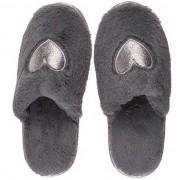 Merkloos Antraciet grijze pantoffel dames slippers met hartjes 36-37 - Pantoffels