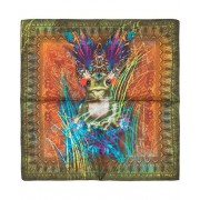 Etro Printed Frog Pocket Square Green