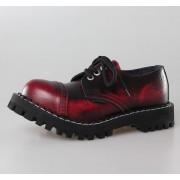 bőr csizma női - STEEL - 101/102 Red Black-Burgund