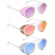 NuVew Round, Shield Sunglasses(Violet, Red, Golden, Blue)