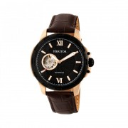 Heritor Automatic Bonavento Semi-Skeleton Leather-Band Watch - Rose Gold/Black HERHR5605