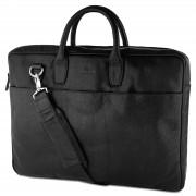 Lucleon Montreal Slim 17-inch Executive Zwarte Lederen Tas