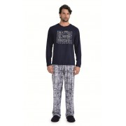 Pijama Masculino Adulto Longo Lua Encantada Caça Palavras