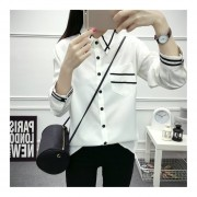 Autumn Women Preppy Chic Turn-down Collar Long Sleeved Single Breasted Shirt White