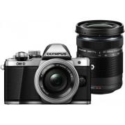 Aparat Foto Mirrorless Olympus E-M10 Mark II + Kit Double Zoom Obiectiv EZ-M1442EZ Pancake + Obiectiv EZ-M4015 R, 16.1 MP, Filmare Full HD (Argintiu)