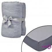 vidaXL Plahte s gumicom za vodene krevete 2 kom 200 x 200 cm pamučni žersej sive