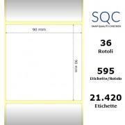 Etichette SQC - Carta normale (vellum) (bobina), formato 90 x 90