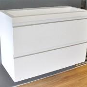 Badkamermeubel Onderkast Luxa Hangend 80x50x35cm MDF Hoogglans Wit Softclose Greeploos