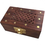 Craft Art India Beautiful Rectangular Small Wooden Jewellery Box with Handcrafted Stars