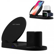 3 in 1 Fast Wireless Charger Charging Dock for iPhone / Apple Watch Series 4 3 2 1 / AirPods (Not Support FOD Function) - Black